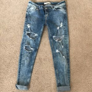 Abercrombie ripped skinny jeans mid light wash